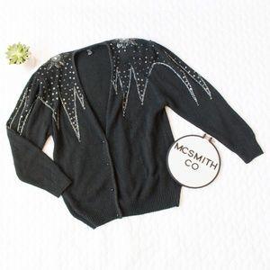 Vintage | Beaded Sequin Black Cardigan Sweater